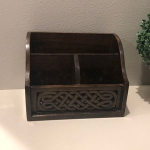 Rustic style wooden desk organizer made in India